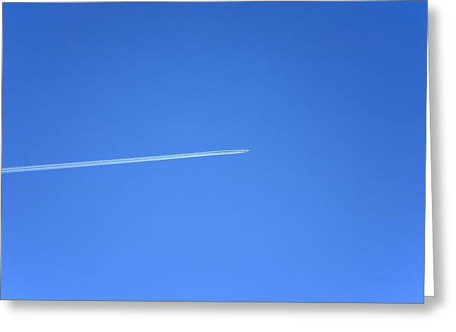 Aircraft Contrail Greeting Card by Victor De Schwanberg