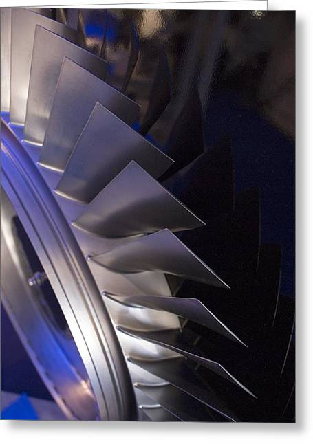 Tech-art Greeting Cards - Aircraft Engine Fan Blades. Greeting Card by Mark Williamson