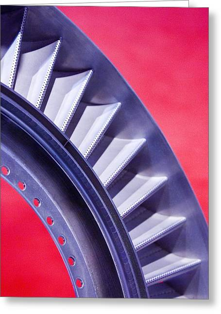 Component Photographs Greeting Cards - Aircraft Engine Fan Component Greeting Card by Mark Williamson