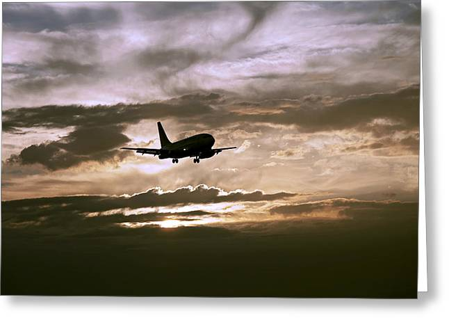 Aa Greeting Cards - Aircraft landing after the rain. Miami. FL. USA Greeting Card by Juan Carlos Ferro Duque