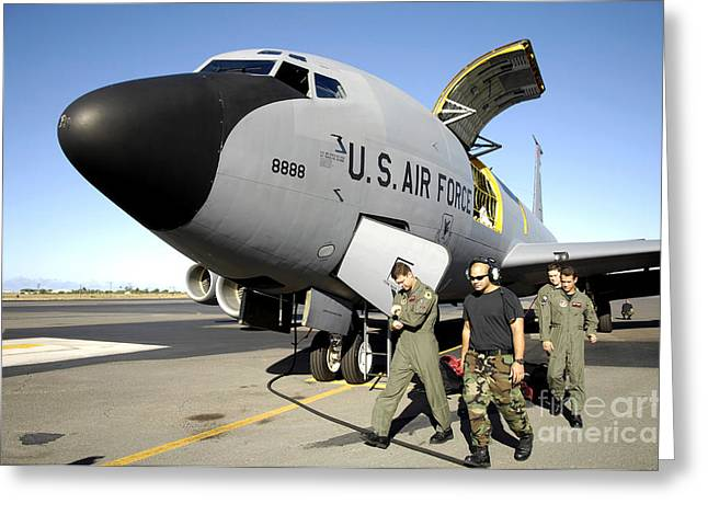 Freight Aircraft Greeting Cards - Aircrew And Maintenance Personnel Greeting Card by Stocktrek Images