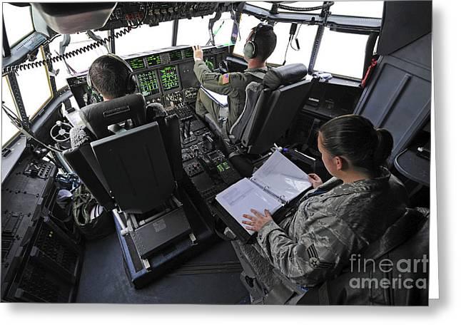 Aircrew Greeting Cards - Aircrew Perform Preflight Checklists Greeting Card by Stocktrek Images