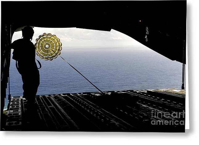 Aircrew Greeting Cards - Aircrews Drop Pallets From A C-17 Greeting Card by Stocktrek Images