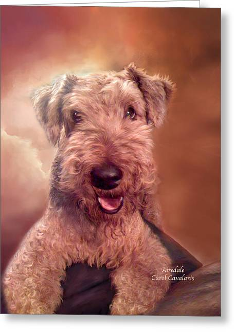 Dog Prints Mixed Media Greeting Cards - Airedale Greeting Card by Carol Cavalaris