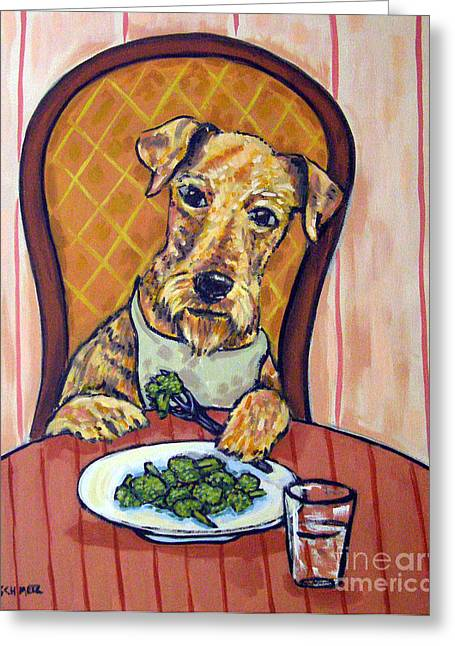 Broccoli Paintings Greeting Cards - Airedale Terrier Eating Broccoli Greeting Card by Jay  Schmetz