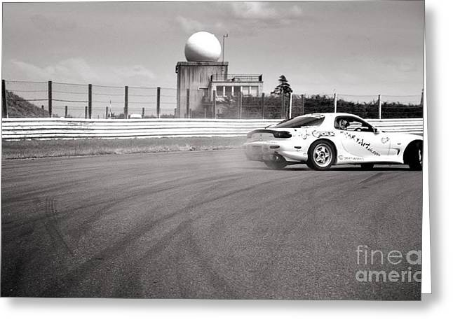 Racing Greeting Cards - Airfield Drifting Greeting Card by Andy Smy