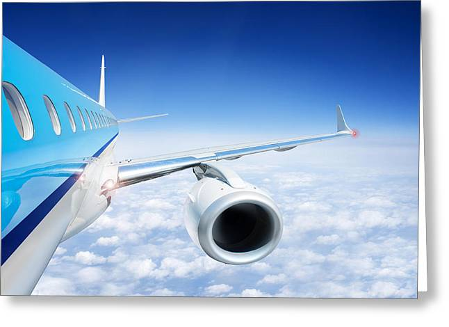 Air Component Greeting Cards - Airliner In Flight Above The Clouds Greeting Card by Corepics