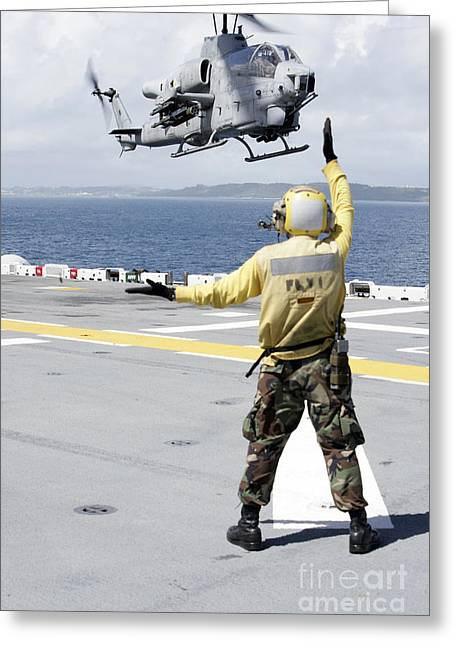 Uss Essex Greeting Cards - Airman Directs An Ah-1w Super Cobra Greeting Card by Stocktrek Images