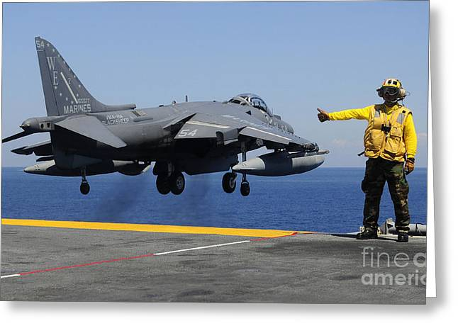 Uss Essex Greeting Cards - Airman Gives The Thumbs-up Signal As An Greeting Card by Stocktrek Images