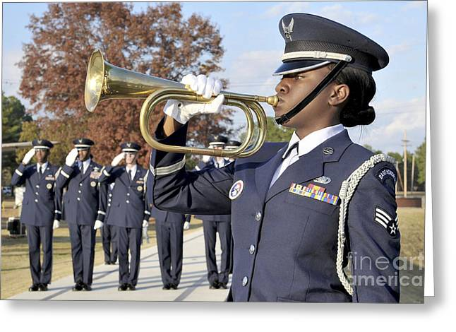 Playing Musical Instruments Photographs Greeting Cards - Airman Plays Taps During The Veterans Greeting Card by Stocktrek Images
