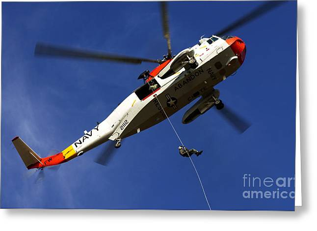 Rappel Greeting Cards - Airman Practices Rappelling Greeting Card by Stocktrek Images