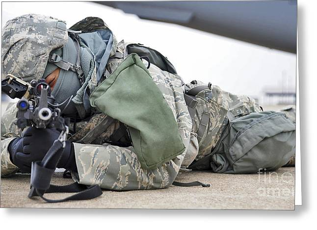 Airman Provides Security At Whiteman Greeting Card by Stocktrek Images
