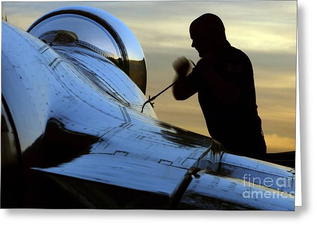 Tighten Greeting Cards - Airman Tightens Down The Canopy Of An Greeting Card by Stocktrek Images