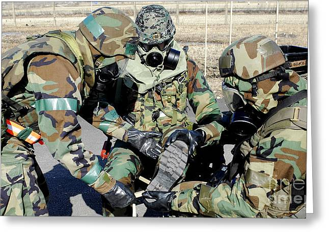 Outfit Greeting Cards - Airmen Assist A Republic Of Korea Army Greeting Card by Stocktrek Images
