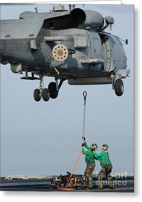 Hovering Greeting Cards - Airmen Assist Each Other As They Hook Greeting Card by Stocktrek Images