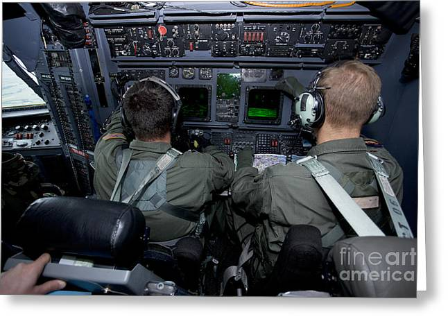 Command Center Greeting Cards - Airmen At Work In A Mc-130h Combat Greeting Card by Gert Kromhout