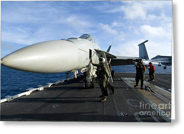 F-18 Greeting Cards - Airmen Conduct A Pre-flight Safety Greeting Card by Stocktrek Images