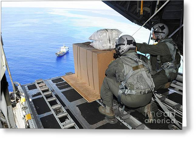 Mariana Greeting Cards - Airmen Gauge The Distance Greeting Card by Stocktrek Images
