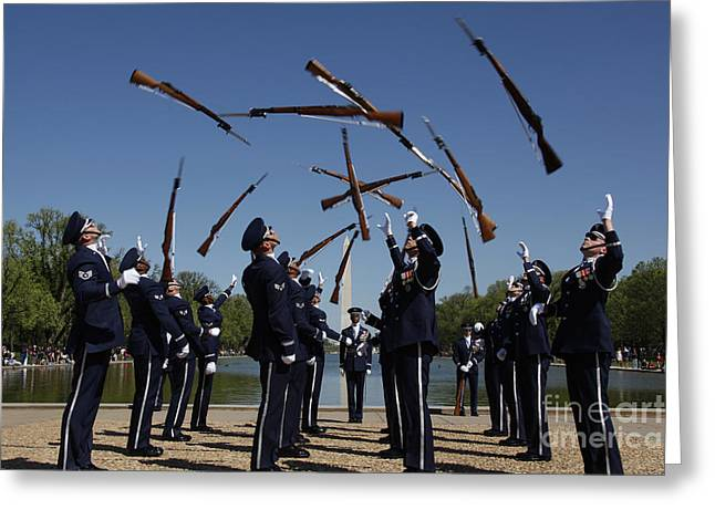 Airmen In The U.s. Air Force Honor Greeting Card by Stocktrek Images