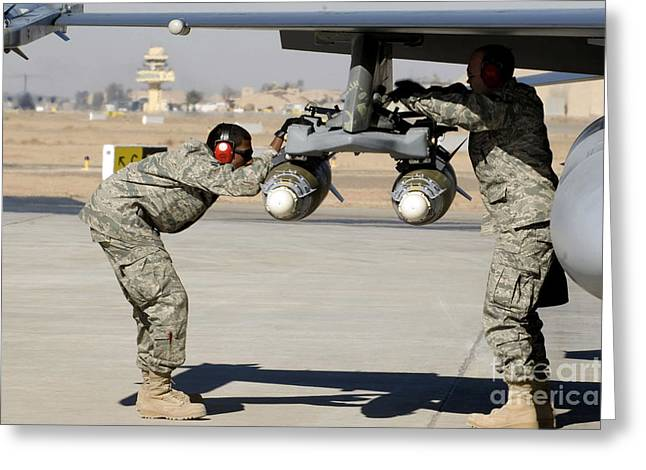 Checking Greeting Cards - Airmen Inspect F-16 Fighting Falcon Greeting Card by Stocktrek Images