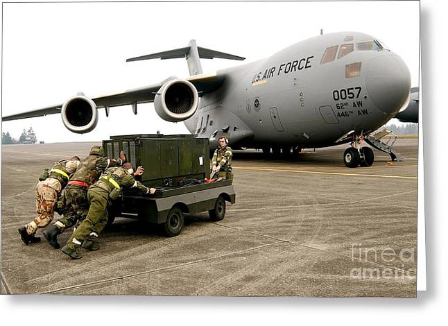 Recently Sold -  - Generators Greeting Cards - Airmen Push A Diesel Generator In Place Greeting Card by Stocktrek Images
