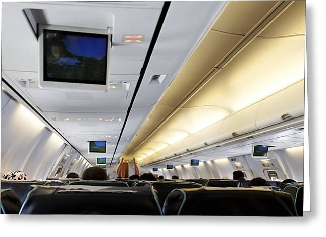 My Ocean Greeting Cards - Airplane Cabin Lines Greeting Card by Kantilal Patel
