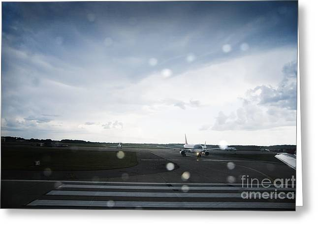Airplane on Runway Greeting Card by Shannon Fagan