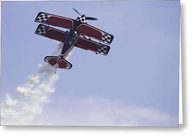 Air Shows Greeting Cards - Airplane Performing Stunts At Airshow Photo Poster Print Greeting Card by Keith Webber Jr