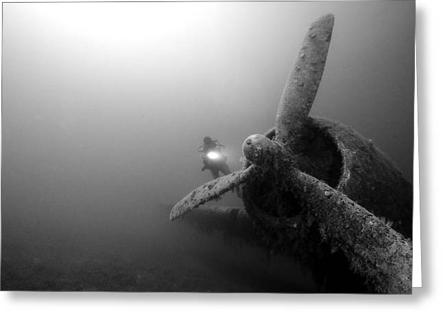 Underwater Photos Greeting Cards - Airplane Underwater Greeting Card by Rico Besserdich