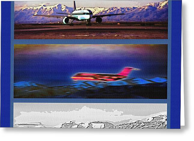 Airport - Airline Triptych Greeting Card by Steve Ohlsen