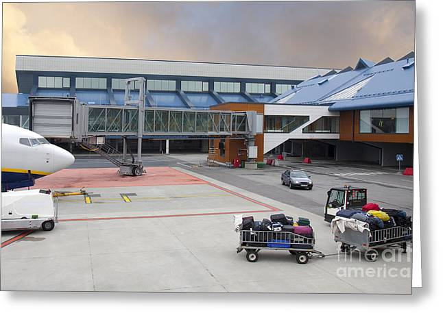 Tallinn Airport Greeting Cards - Airport Gate Arrival Greeting Card by Jaak Nilson