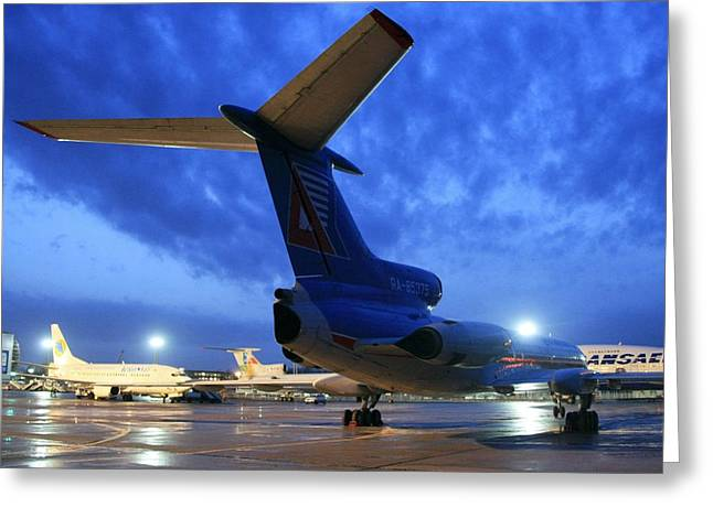 Tupolev Greeting Cards - Airport Parking Stand At Night Greeting Card by Ria Novosti