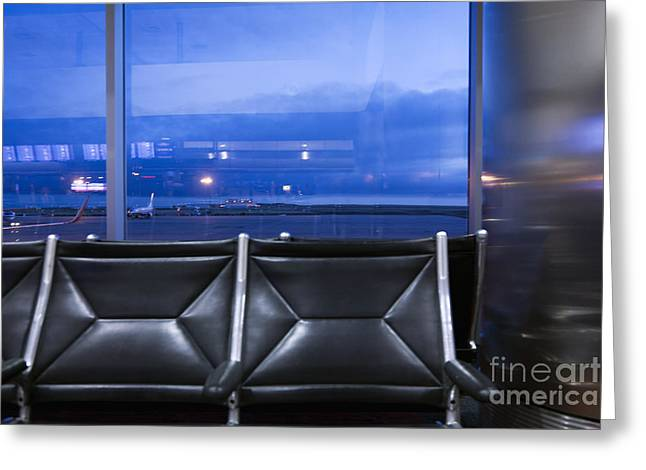 At Arrivals Greeting Cards - Airport Terminal Seating Greeting Card by Roberto Westbrook
