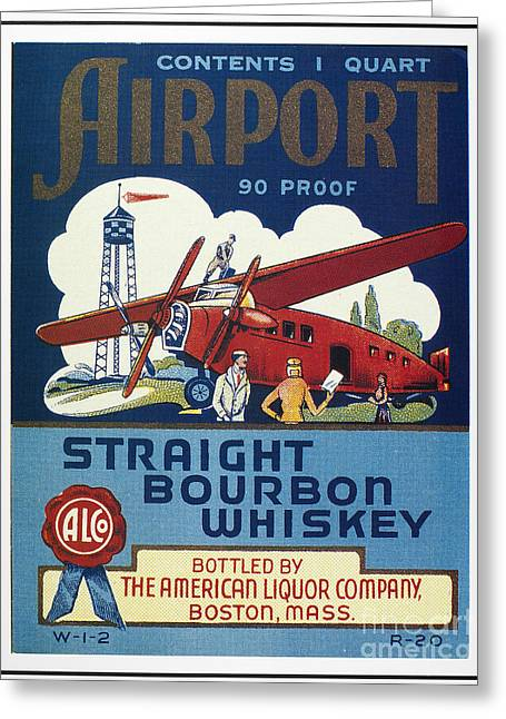 Monoplanes Greeting Cards - Airport Whiskey Label Greeting Card by Granger