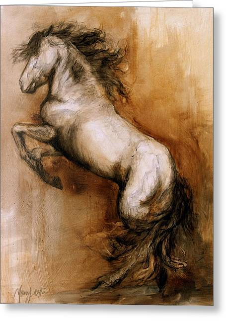Horses Paintings Greeting Cards - Airs Above Greeting Card by Mary Leslie