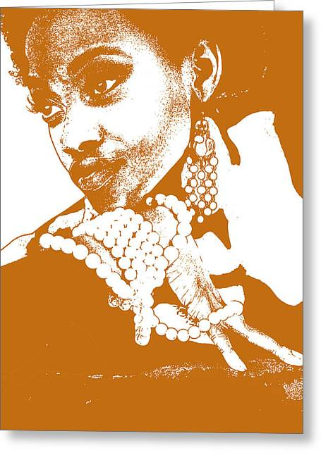Jewelry Greeting Cards - Aisha Brown Greeting Card by Naxart Studio