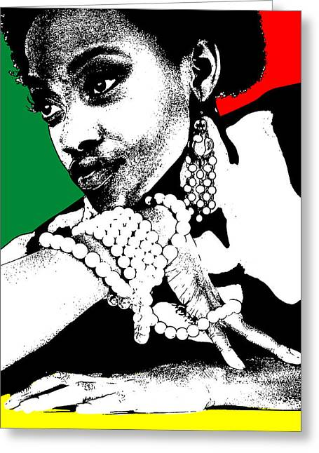 Makeup Greeting Cards - Aisha Jamaica Greeting Card by Naxart Studio