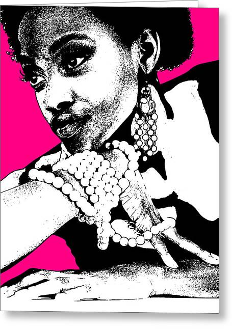 Party Digital Art Greeting Cards - Aisha Pink Greeting Card by Naxart Studio