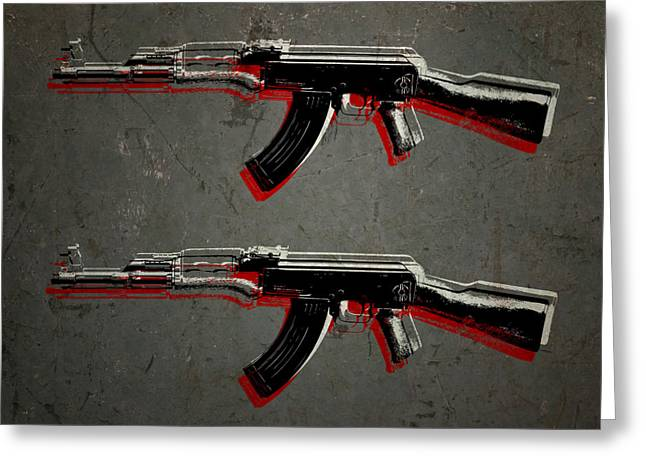 Bullet Greeting Cards - AK47 Assault Rifle Pop Art Greeting Card by Michael Tompsett