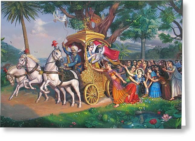 Essential Paintings Greeting Cards - Akrura takes Krishna and Balaram Greeting Card by Satchitananda das Saccidananda das