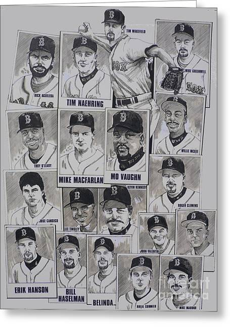 Red Sox Drawings Greeting Cards - AL East Champions Red Sox newspaper poster Greeting Card by Dave Olsen