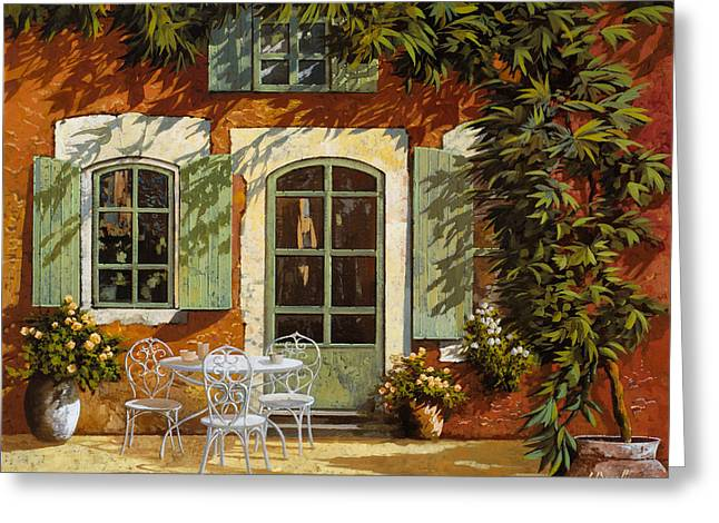 Shutter Greeting Cards - Al Fresco In Cortile Greeting Card by Guido Borelli