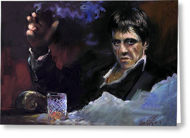 Scarface Greeting Cards - AL Pacino snow Greeting Card by Ylli Haruni