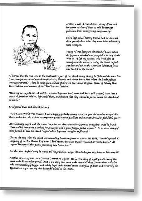 Marin County Drawings Greeting Cards - Al Rios Guam WW II Story Greeting Card by Paul Miller