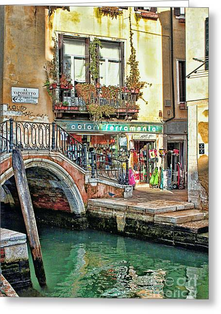 Toms Place Greeting Cards - Al Valporetto-Venice Italy Greeting Card by Tom Prendergast
