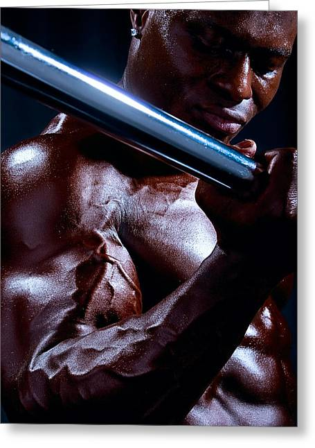 Fitness Model Greeting Cards - Al Work Out Color 1 Greeting Card by Val Black Russian Tourchin