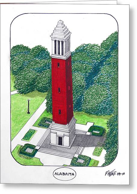 College Campus Drawings Greeting Cards - Alabama Greeting Card by Frederic Kohli