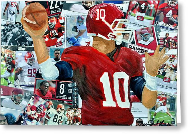 Crimson Tide Mixed Media Greeting Cards - Alabama Quarter back Passing Greeting Card by Michael Lee