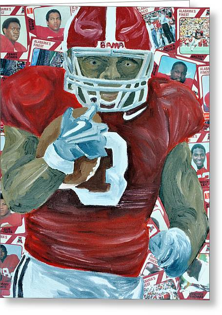 Crimson Tide Mixed Media Greeting Cards - Alabama Running Back Greeting Card by Michael Lee