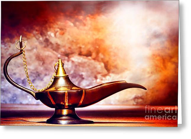 Aladdin Greeting Cards - Aladdin Lamp Greeting Card by Olivier Le Queinec